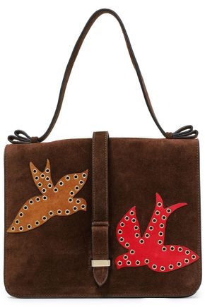 RED(V) Embellished suede tote