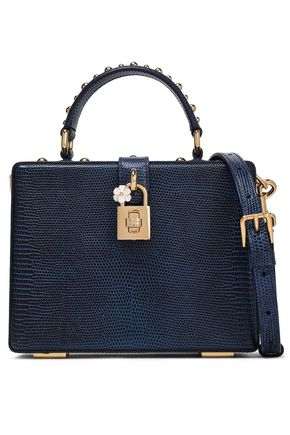 DOLCE & GABBANA Studded lizard-effect leather shoulder bag
