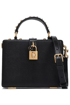 DOLCE & GABBANA Dolce Box studded lizard-effect leather shoulder bag