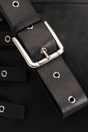 RED(V) Eyelet-embellished leather pouch