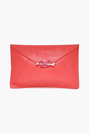 RED(V) Embellished leather clutch