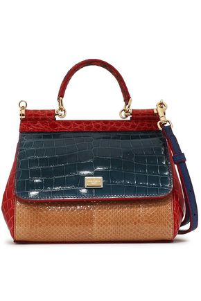 DOLCE & GABBANA Color-block snake and lizard-effect leather shoulder bag