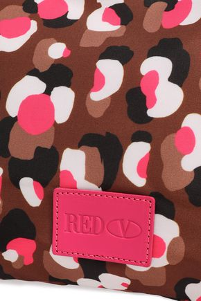 RED(V) Bow-embellished printed woven clutch