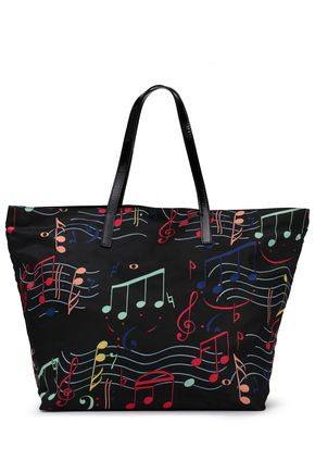 RED(V) Patent leather-trimmed printed shell tote