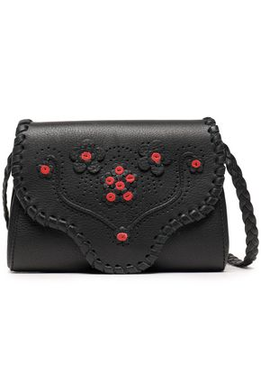 RED(V) Floral-appliquéd perforated leather shoulder bag