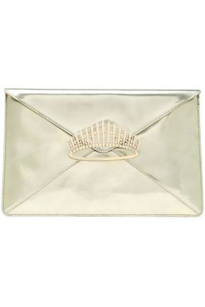 RED(V) Crystal-embellished mirrored-leather clutch