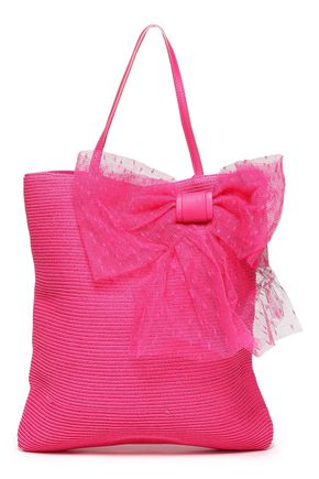 RED(V) Bow-embellished straw tote