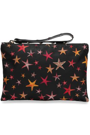 RED(V) Studded printed leather-trimmed shell clutch