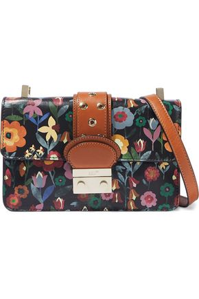 RED(V) Eyelet-embellished floral-print leather shoulder bag