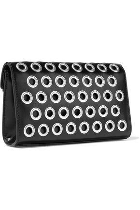 ALAÏA Eyelet-embellished leather clutch