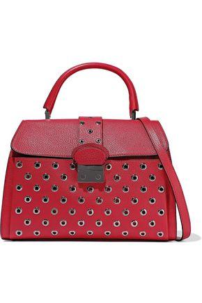 RED(V) Eyelet-embellished pebbled-leather shoulder bag