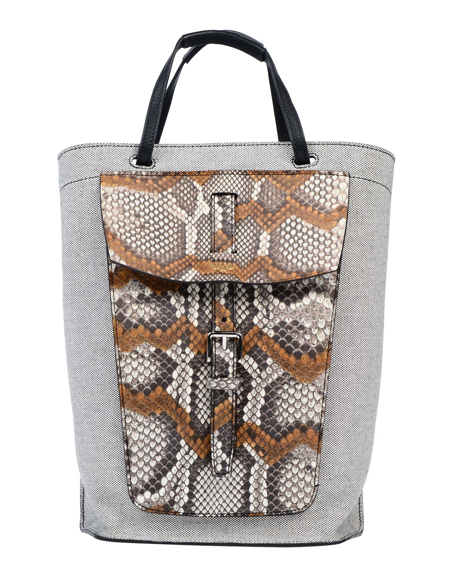 《セール開催中》BERTONI 1949 レディース ハンドバッグ ダークブラウン 革 / 紡績繊維