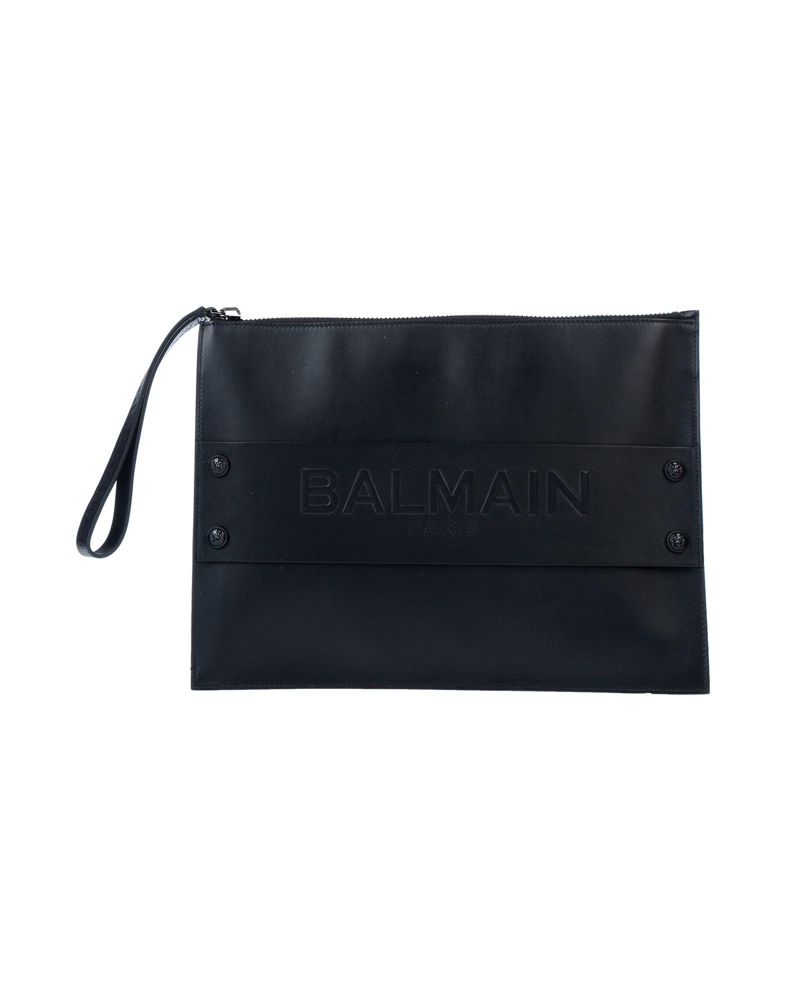 《送料無料》BALMAIN メンズ ハンドバッグ ブラック 革