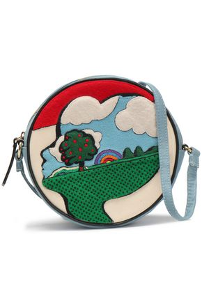 OLYMPIA LE-TAN Appliquéd canvas shoulder bag