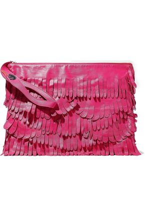 RED(V) Appliquéd fringed leather clutch