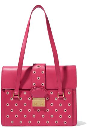 RED(V) Eyelet-embellished color-block leather shoulder bag