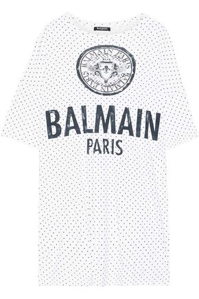 BALMAIN Oversized printed cotton-jersey T-shirt