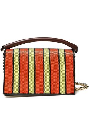 DIANE VON FURSTENBERG Paneled striped leather and canvas shoulder bag