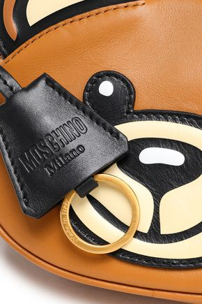 MOSCHINO Embroidered leather shoulder bag