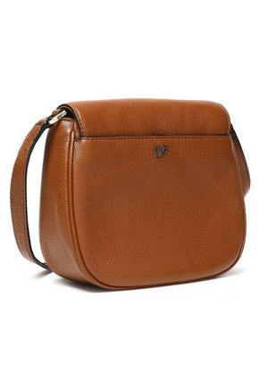 2cfb634fb56d ... DIANE VON FURSTENBERG Chain-embellished textured-leather shoulder bag