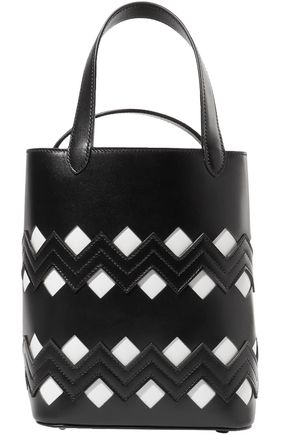 ALAÏA Cutout two-tone leather bucket bag