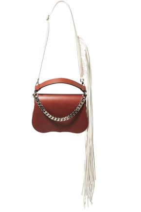 Calvin Klein 205w39nyc Woman Chain-embellished Fringed Leather Shoulder Bag Brown Size --