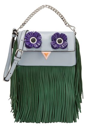 FENDI Appliquéd fringed leather shoulder bag