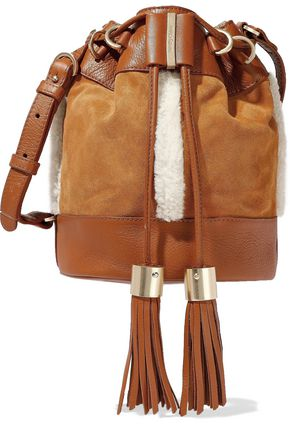 SEE BY CHLOÉ Leather-paneled shearling-trimmed suede bucket bag
