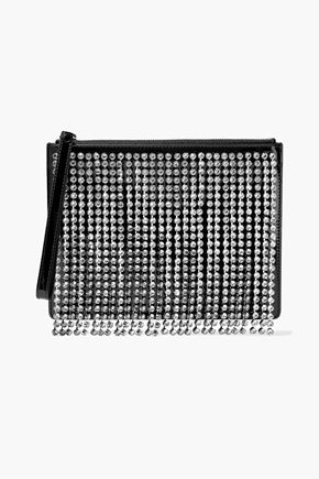 CHRISTOPHER KANE Crystal-embellished fringed patent-leather clutch