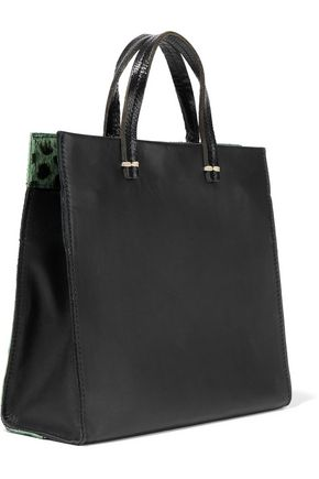 CLARE V. Petit Simple calf hair-paneled leather shoulder bag