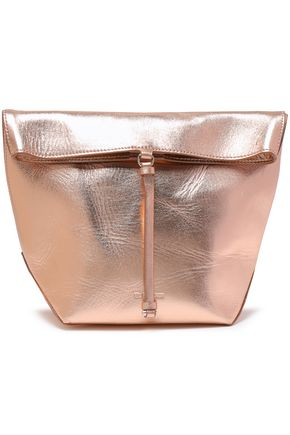 JIL SANDER Metallic textured-leather clutch
