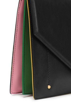 SARA BATTAGLIA Plissé leather envelope clutch
