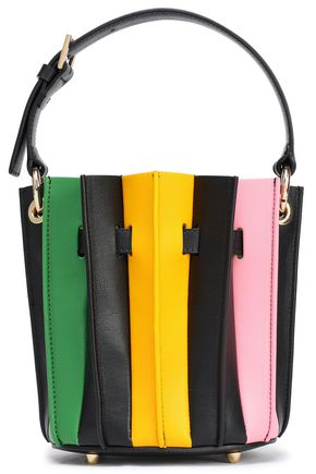 SARA BATTAGLIA Plissé mini striped leather bucket bag