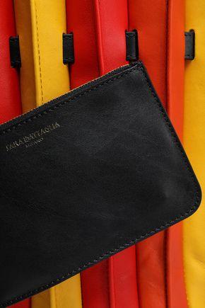 SARA BATTAGLIA Pleated color-block leather bucket bag