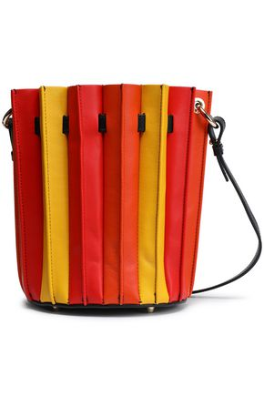 SARA BATTAGLIA Pleated color-block leather bucket bag