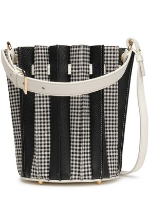 SARA BATTAGLIA Pleated textured-leather and checked woven bucket bag