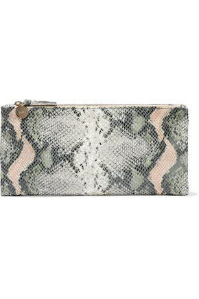 CLARE V. Snake-effect leather clutch