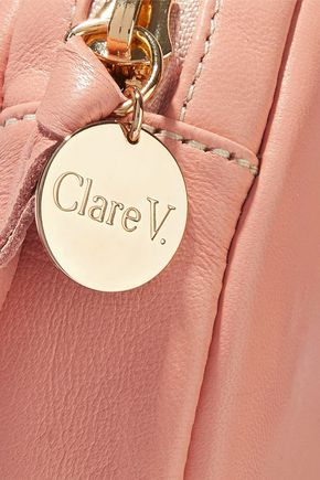 CLARE V. Circle leather clutch
