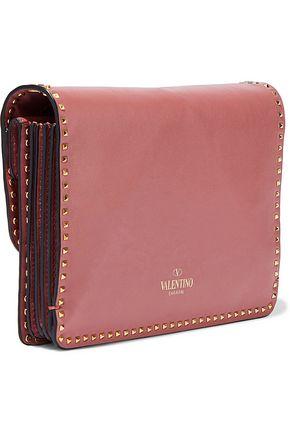 VALENTINO GARAVANI Rockstud appliquéd leather shoulder bag