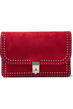 VALENTINO GARAVANI Crystal-embellished suede shoulder bag
