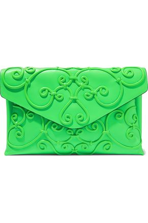 VALENTINO GARAVANI Appliquéd leather envelope clutch