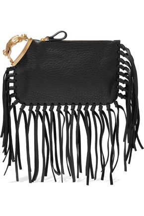 VALENTINO GARAVANI Gryphon fringe-trimmed textured-leather clutch