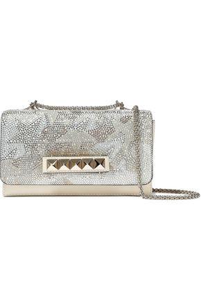 VALENTINO GARAVANI Embellished matte and metallic leather shoulder bag