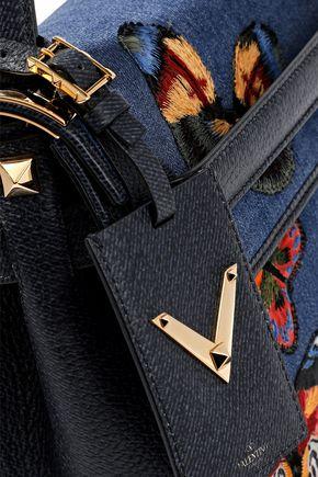 2c0d1100449a ... VALENTINO GARAVANI My Rockstud textured leather-paneled embroidered  denim shoulder bag ...