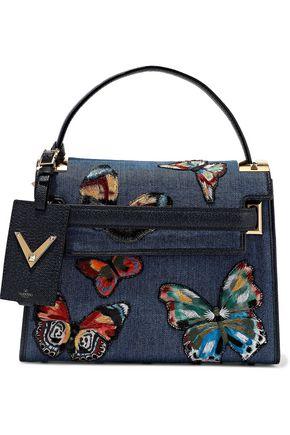 5b9693f8cc41 VALENTINO GARAVANI My Rockstud textured leather-paneled embroidered denim  shoulder bag ...