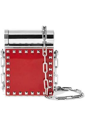 VALENTINO GARAVANI Studded silver-tone and enamel compact mirror