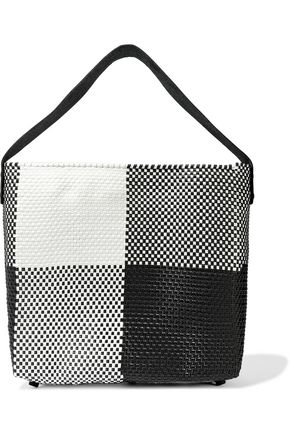 TRUSS Leather-trimmed checked woven tote