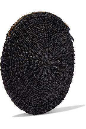 CLARE V. Appliquéd straw clutch