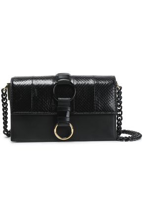 Embellished Leather And Watersnake Shoulder Bag by Diane Von Furstenberg