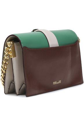 DIANE VON FURSTENBERG Embellished color-block leather shoulder bag